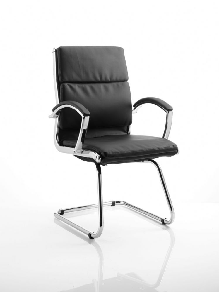 Classic Cantilever Visitor Chair Chrome Frame Leather Padded Arms Black Bonded Leather